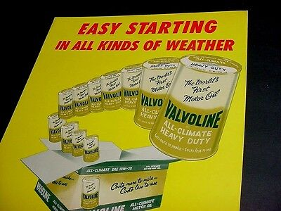 NEAR MINT 1941 Vintage VALVOLINE MOTOR OIL Old Oil Can Graphic Gas Station Sign