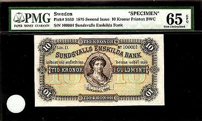 Sweden 10 Kronor 1875 SPECIMEN PMG 65 EPQ UNC Pick # S589 S/N 100001 Printer:BWC
