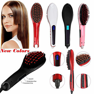 Electric Hair Straightener Comb LCD Iron Brush Auto Fast Hair Massager Tool hiy