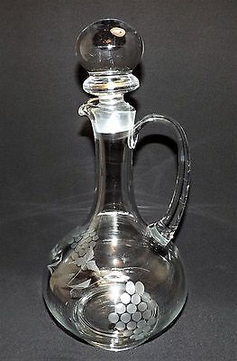 "Large Etched  Claret Jug Decanter Pitcher Liquore Bottle Stunning 15 1/4"" EXC"