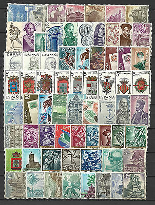 SPAIN 1966 COMPLETE YEAR STAMP COLLECTION 68 Values Mint Never Hinged