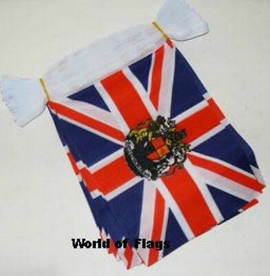UNION JACK with ROYAL CREST BUNTING 9m 30 Fabric Flags British UK Queen Standard