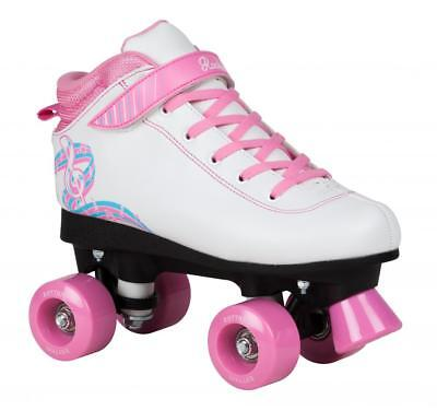 Rookie Rhythm Girls Quad/Roller Skates - White Pink