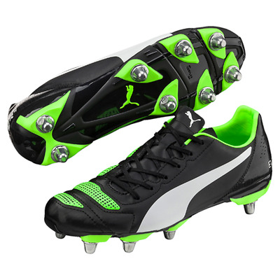 Puma evoPOWER 4.2 H8 SG Black Green Rugby Boots Size UK 6 8 9