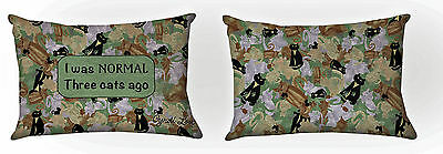 "Throw Pillows - ""i Was Normal Three Cats Ago"" Reversible Pillow - Cat Pillow"