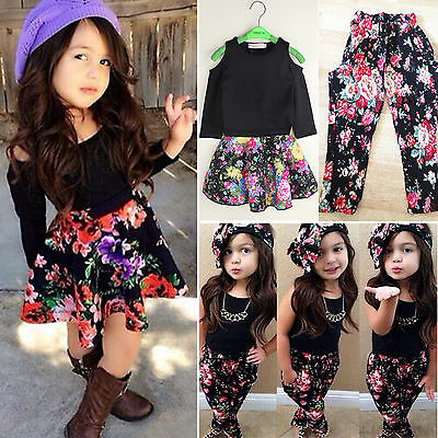 Toddler Kids Girls Outfits Black Tops + Flower Pants Skirt Set Baby Clothes Suit
