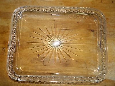Victorian cut glass rectangular tray condiments? Dressing table?  357-16
