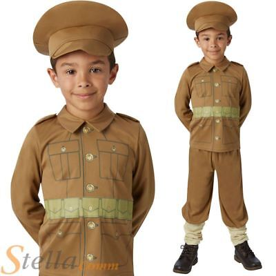 Boys WW1 Soldier Costume World War Historical Army Fancy Dress Outfit
