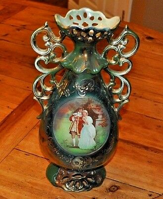 "Antique English Large 13.5"" Porcelain Vase With Courting Scene- 1916"