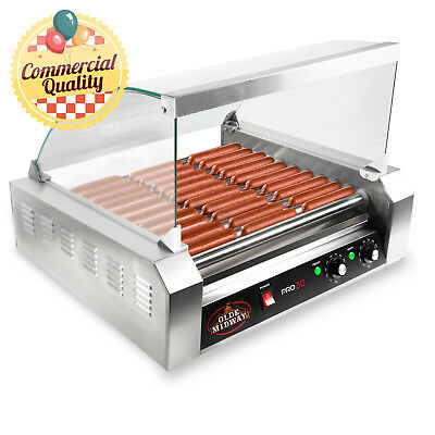 Commercial Electric 30 Hot Dog 11 Roller Grill Cooker Machine 1200-Watt w Cover