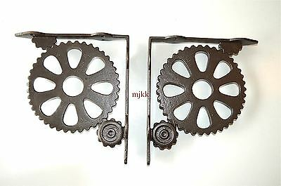 Pair of large vintage industrial machine cog wall shelf brackets bracket AL40