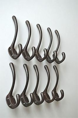 A set of 10 simple 1930's cast iron coathook wall door hanger coat hook AL3