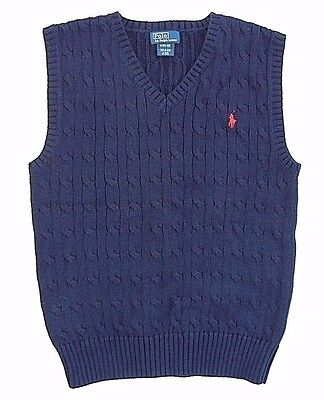 Polo Ralph Lauren V-Neck  Cable Knit Sweater Vest Navy  Red Pony Boys M 10 12