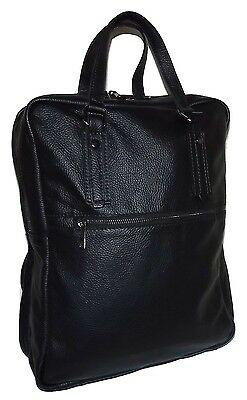 New Firenze Italia Pebbled Tuscan Leather Laptop Tote Backpack Black e48f7437aec6c