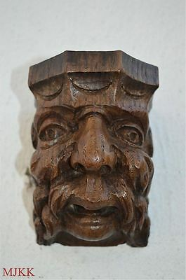 Original antique hand carved oak green man corbel Jack in the green wall mask