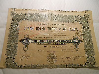 1928 Action Grand Hotel Pierre 1Er Serbie  @ Sup Deco @