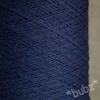 PURE MERINO WOOL YARN 2/30s INDIGO BLUE 500g CONE LACEWEIGHT 1 PLY DENIM DEEP