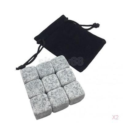 2x 9 Pieces Whisky Ice Stones Wine Drinks Cooler Cubes Whiskey Rocks Granite #5