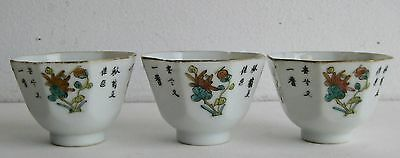Fine Old Set of 3 Chinese Painted Porcelain Floral & Poem Decorated Tea Cups  a