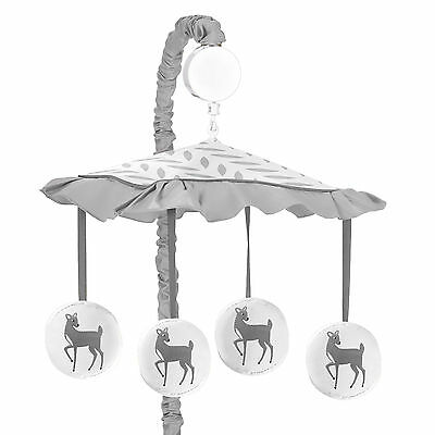 Musical Mobile For Sweet Jojo Grey And White Forest Deer Baby Crib Bedding Set