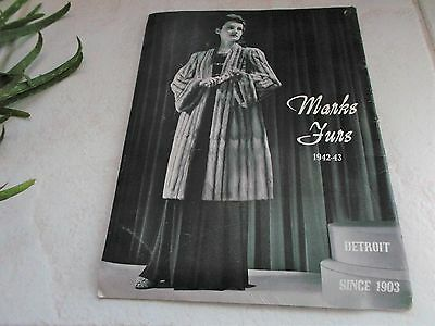 1942-43 Marks Furs Detroit Fashion Fur Coat Catalog 30 Pages With Order Sheet