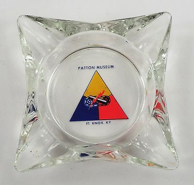 Vintage General George S Patton Military Museum Fort Knox Kentucky Glass Ashtray