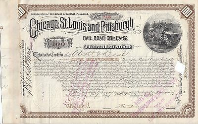 Chicago St Louis & Pittsburgh Railroad Company 1800s Preferred 100 Shares Stock