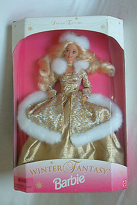 BARBIE DOLL 1995 WINTER Fantasy Special Edition FUR Collar GOLD GOWN Necklace