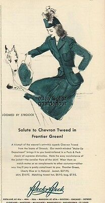 1940 Peck green womens fashion Tweed Skirt Jacket ad : Vintage Advertising
