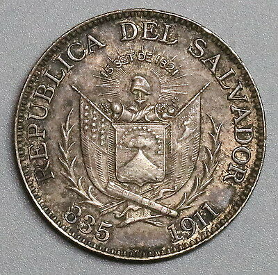 1911 EL SALVADOR Silver 25 Centavos Scarce 1 Year Type Coin (16101614R)