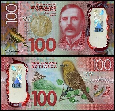 New Zealand 100 Dollars, 2015/2016, P-New, Polymer, Bird, UNC