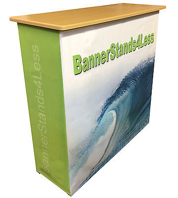 "40"" Tall Podium Pop Up Trade Show Display Table Counter Stand + CUSTOM Wrap L117"