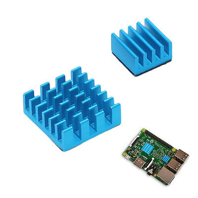 2X Aluminum Heat Sink Blue Cooling Cooler for Raspberry Pi 2 3 Model B Rpi B+ AU