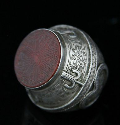 large antique silver Afghanistan seal signet Ring, carved labyrinth maze stone