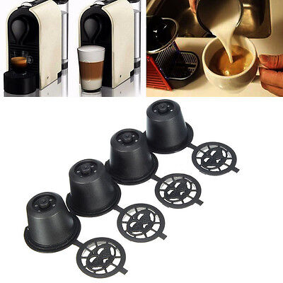 4Pcs Refillable Cup Filters Reusable Coffee Capsule For Nespresso Machine Black