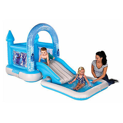New Junior Disney Frozen Bouncy Castle House Ramp And Pool For Kids