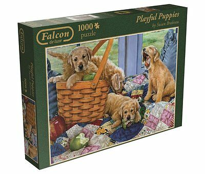 Playful Puppies Cute Dogs 1000 Pieces Falcon Jumbo De Luxe Jigsaw Puzzle 11054
