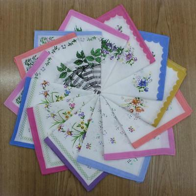 Womens Beautiful Cotton Floral Handkerchief Wendding Party Fabric Hanky