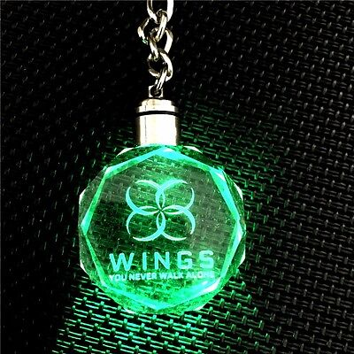 KPOP Bangtan Boys  WINGS YOU NEVER WALK ALONE LED Crystal Pendant Keychain BTS