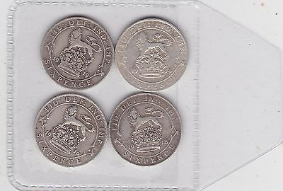 Four Silver Sixpences Dated 1914/1916/1918 & 1919 In Fine Or Better Condition