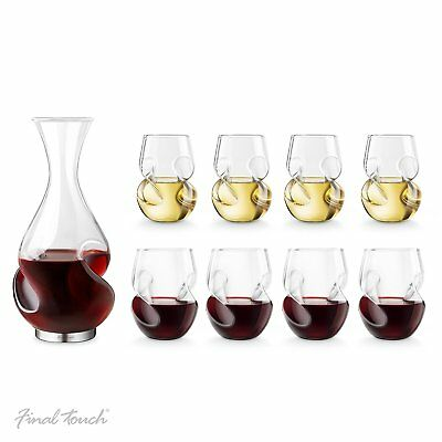 Final Touch BONUS WINE SET Conundrum DECANTER Red & White Stemless GLASSES Gift