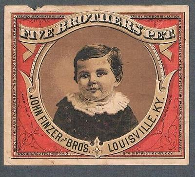Original 1900's Louisville John Finzer & Bros. Five Brothers Pet Tobacco Label
