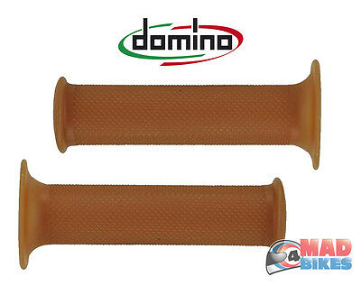 Domino Cafe Racer Vintage Style Motorcycle Handlebar Grips 22mm - 7/8 Brown Para