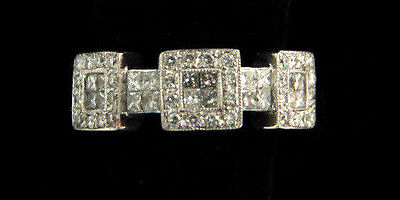 Estate Jewelry 18k White Gold Triple Square Diamond Encrusted Cocktail Ring