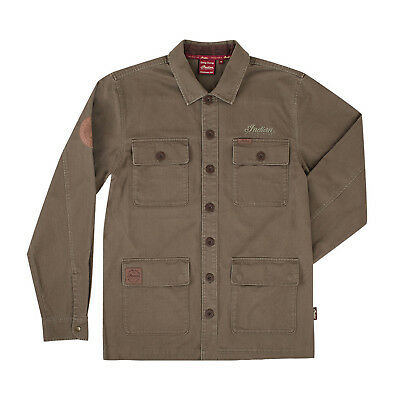 Indian Motorcycle New OEM Men's Long Sleeve Overshirt Khaki, Large 286795106
