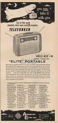 1955 German Telefunken Elite Portable Radio-You CAN Take it With You-Ghost Ad