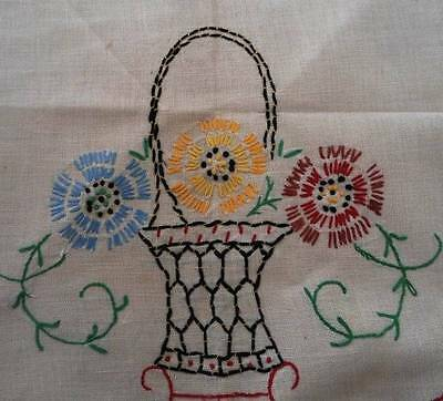 Vintage Toss Pillow Cover Sham Embroidered Flower Basket Red Yellow Case