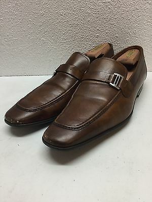 Magnanni Lino Brown Leather / Leather Strap Dress Loafers Mens Size 9 M