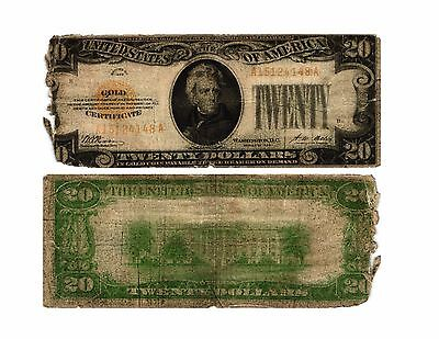 Vtg 1928 $20.00 United States Small Size GOLD CERTIFICATE   Fr#2402 CIRCULATED
