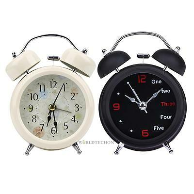Retro Classic Metal Double Twin Bell Mechanical Alarm Bedside Night Light Clock